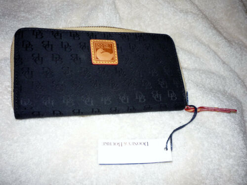 DOONEY & BOURKE BLACK CLUTCH COIN WALLET LEATHER BILFOLD CC CREDIT CARD HOLDER
