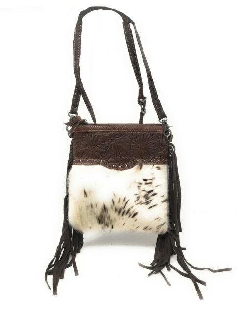 Western Genuine Tooled Leather Cowhide Fur Fringe Womens Crossbody Bag 3 Colors