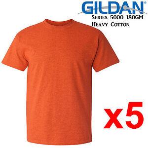 Gildan-T-SHIRT-Antique-Orange-blank-tee-S-M-L-XL-2XL-big-Men-039-s-Heavy-Cotton