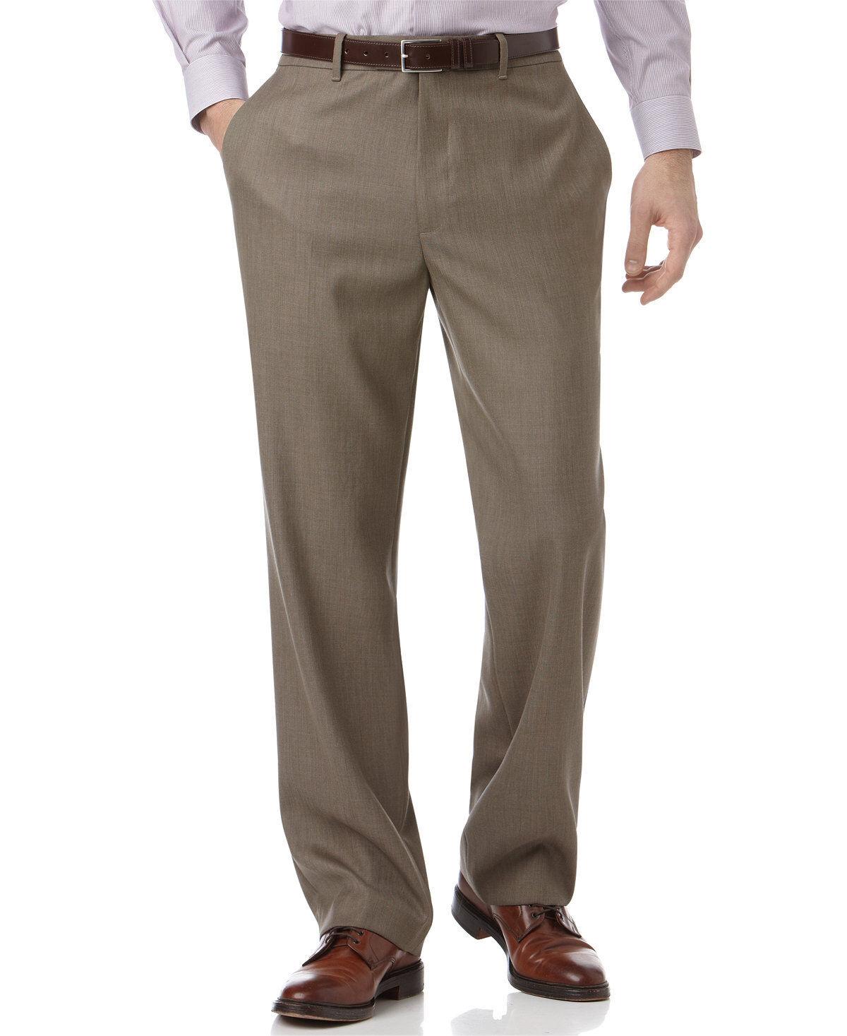 PERRY ELLIS PORTFOLIO men BROWN FLAT FRONT FIT SUIT DRESS PANTS 36 W 32 L