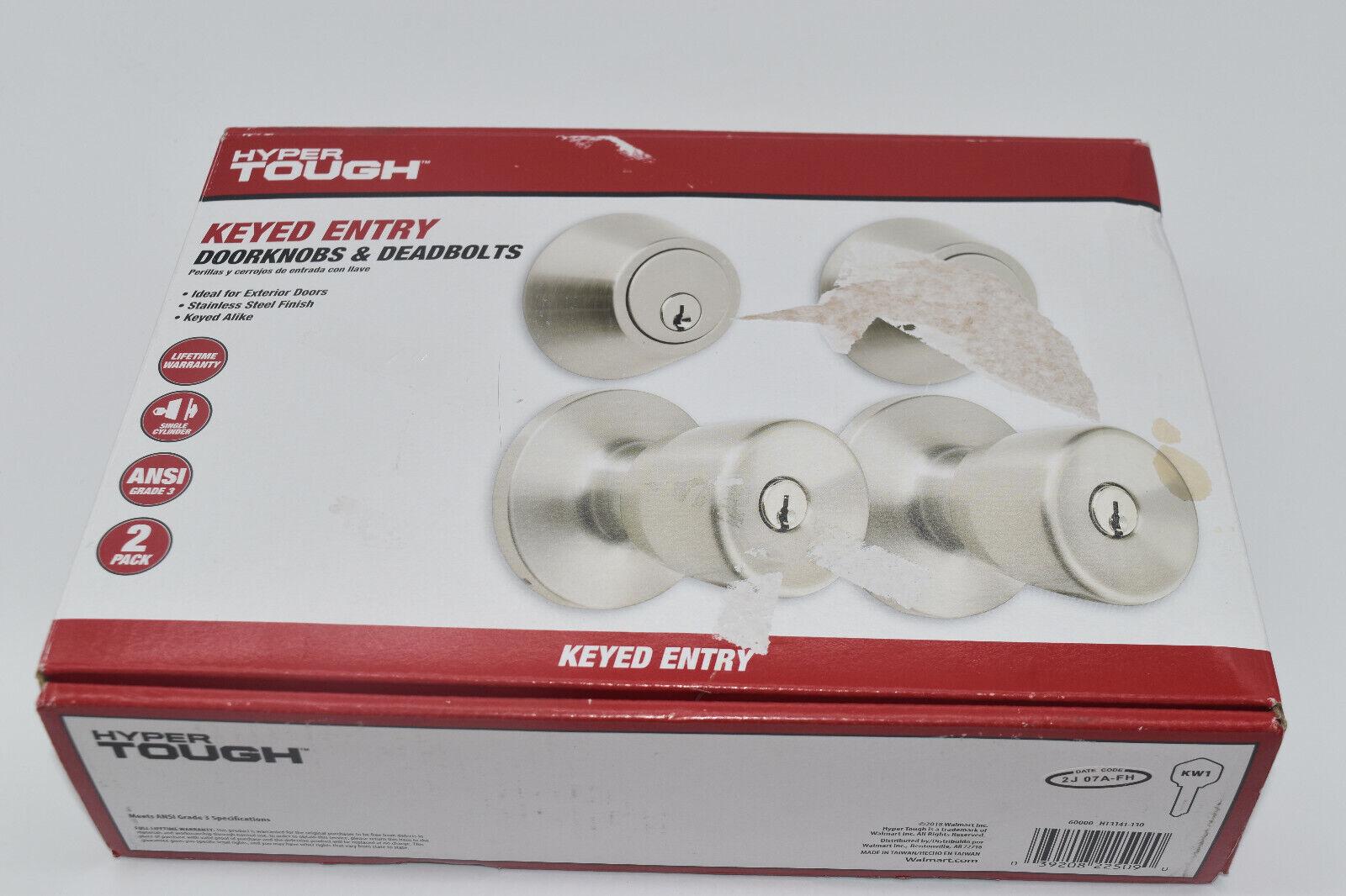 1 Pack Hyper Tough Keyed Entry Door Knob /& Deadbolt Stainless Steel