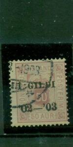 Islanda, valore paragrafo, scritta 1 Gildi, N. D 16 timbrato