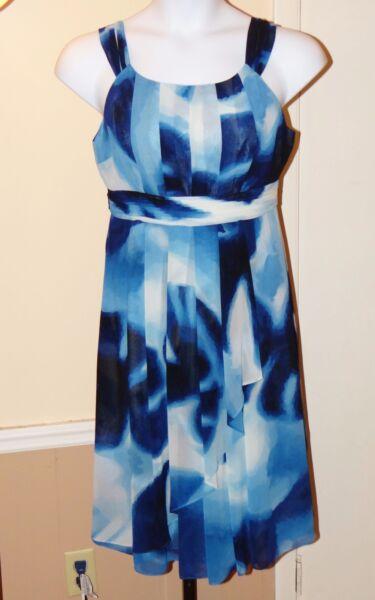 $119 JONES NEW YORK Blue/White Silky Watercolor Print Fit N' Flare Dress SIZE 8