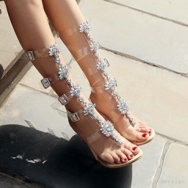 De lujo para para para mujeres botas Sandalias de pista Rhinestone Mitad de Pantorrilla Zapatos de Cristal Tacones De Bloque  envío gratuito a nivel mundial