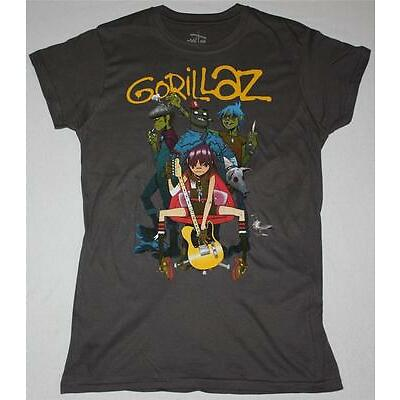 GORILLAZ BAND ALTERNATIVE HIP HOP ROCK BRIT BLUR NEW GREY CHARCOAL LADY T-SHIRT