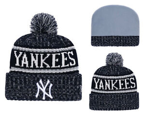New York Yankees New Era MLB Cuffed Knit Winter Beanie Cap w  Pom  45859575c24