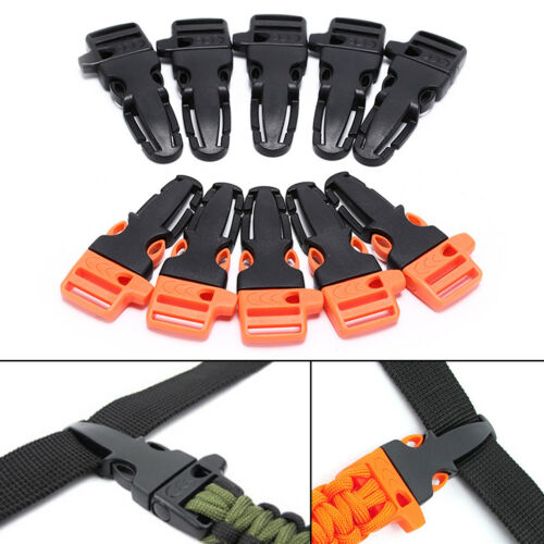 5pcs Survival Whistle Buckle Plastic Release Buckles For Paracord//Backpack UK