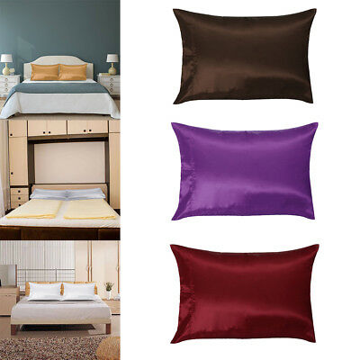 Multi-Color Silk Satin Standard Pillow Case Cushion Cover Pillowcase Home Decor