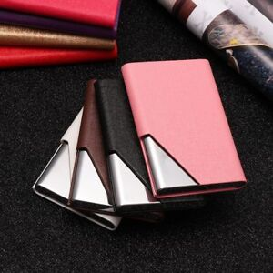 PU Leather Silver Stainless Steel ID Credit Cover Aluminium Card Holder Case