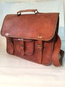 Brown-Messenger-Bag-Genuine-Leather-Unisex-Shoulder-Bag-Laptop-Bag-Vintage-Looks