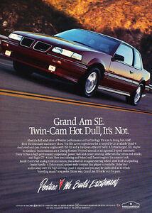 1989-Pontiac-Grand-Am-SE-Twin-Cam-Classic-Vintage-Advertisement-Ad-D97