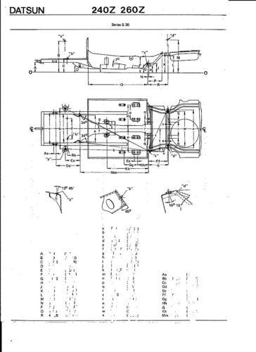 1970 71 72 73 74 75 76 77 78 Datsun 240 260 Z NOS Frame Dimensions Align Specs