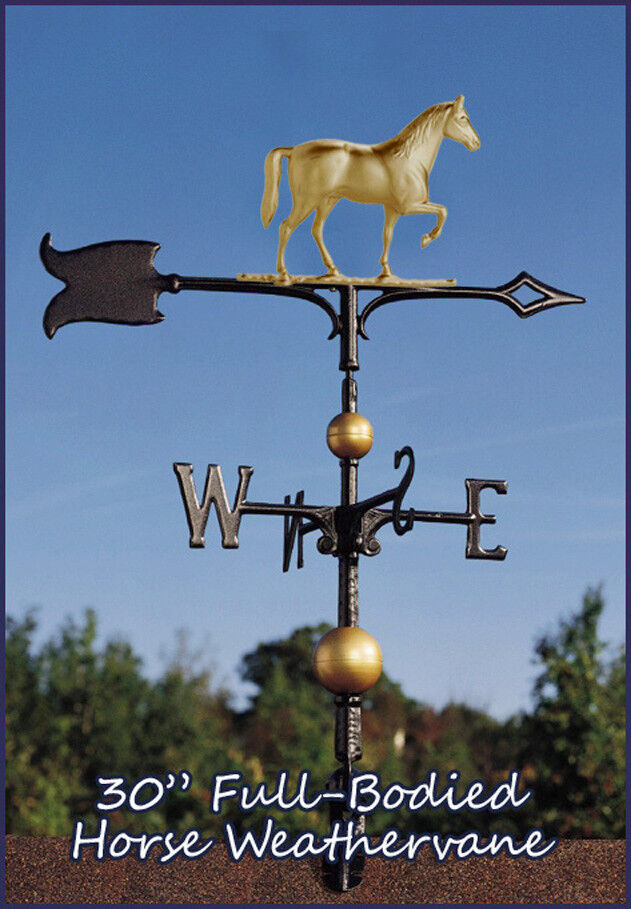 Weißhall Weathervane 30  Horse Full-Bodied + Mount Ships FAST - Gold-Bronze