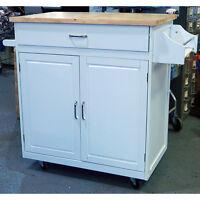 Menard Portable Kitchen Island Cart With Wheels White 32x20x36 Model 482-5375 on Sale