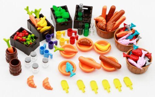 110 Pcs Food Drinks Fruit Vegetable Bread Fish Bottles for LEGO Minifigures MOCs