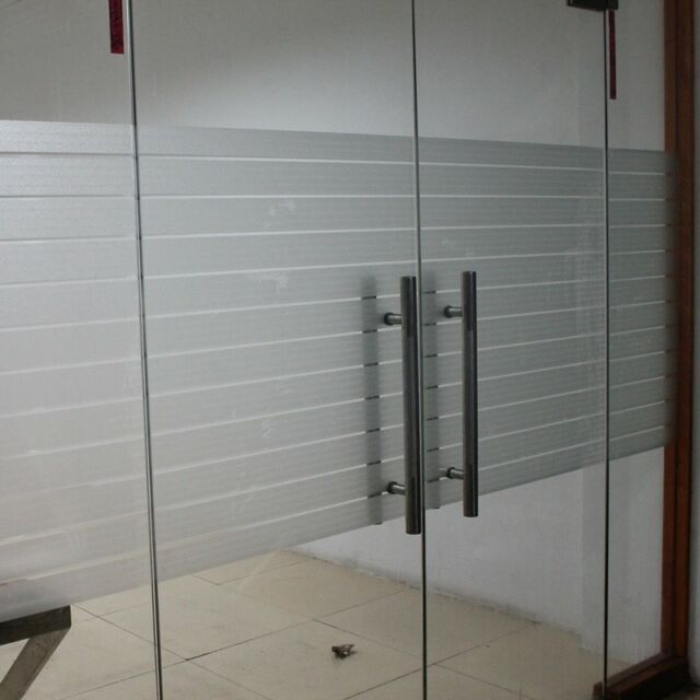 Privacy Frosted Film Frost Glass Bathroom Window Striped Shutters Sticker  PVC