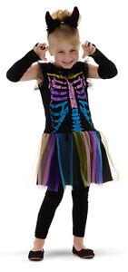 Skelett-Maedchen-Kostuem-Skelett-Kleid-Karneval-Gr-104-110-oder-Gr-116-128