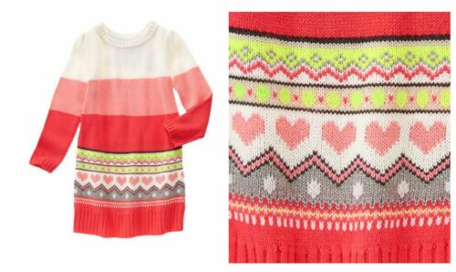 VALENTINE/'S NWT Gymboree Play By Heart Fair Isle Hearts Knit Sweater Dress Girl