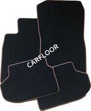 Für Audi A1 ab 3.2010 Fußmatten Velours Deluxe schwarz m Nubukband Zimt