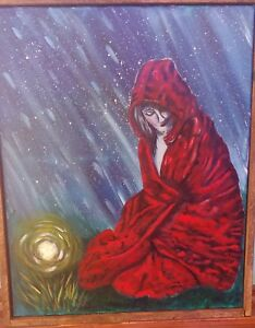 Details About Acrylic Painting Little Red Riding Hood On Canvas And Framed