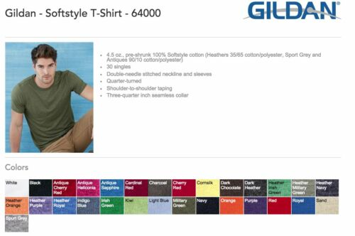 50 Blank Gildan SoftStyle T-Shirt 64000 Bulk Lot ok to mix S-XL Colors Wholesale