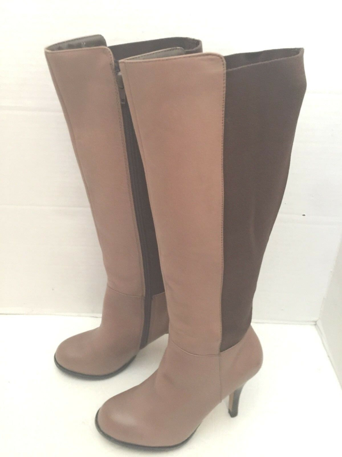 Very Volatile Vanity Mix Crepe Media Braun Leder Stretch Crepe Mix Knee High Stiefel 6 9a3a76