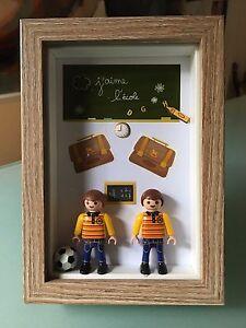 Jumeaux-Cadre-Creation-originale-avec-Playmobil-Cadeau-unique-Home-made
