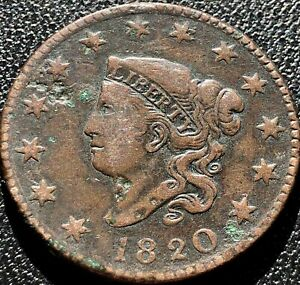 1820 Large Cent Coronet Head One Cent 1c High Grade VF - XF #15442