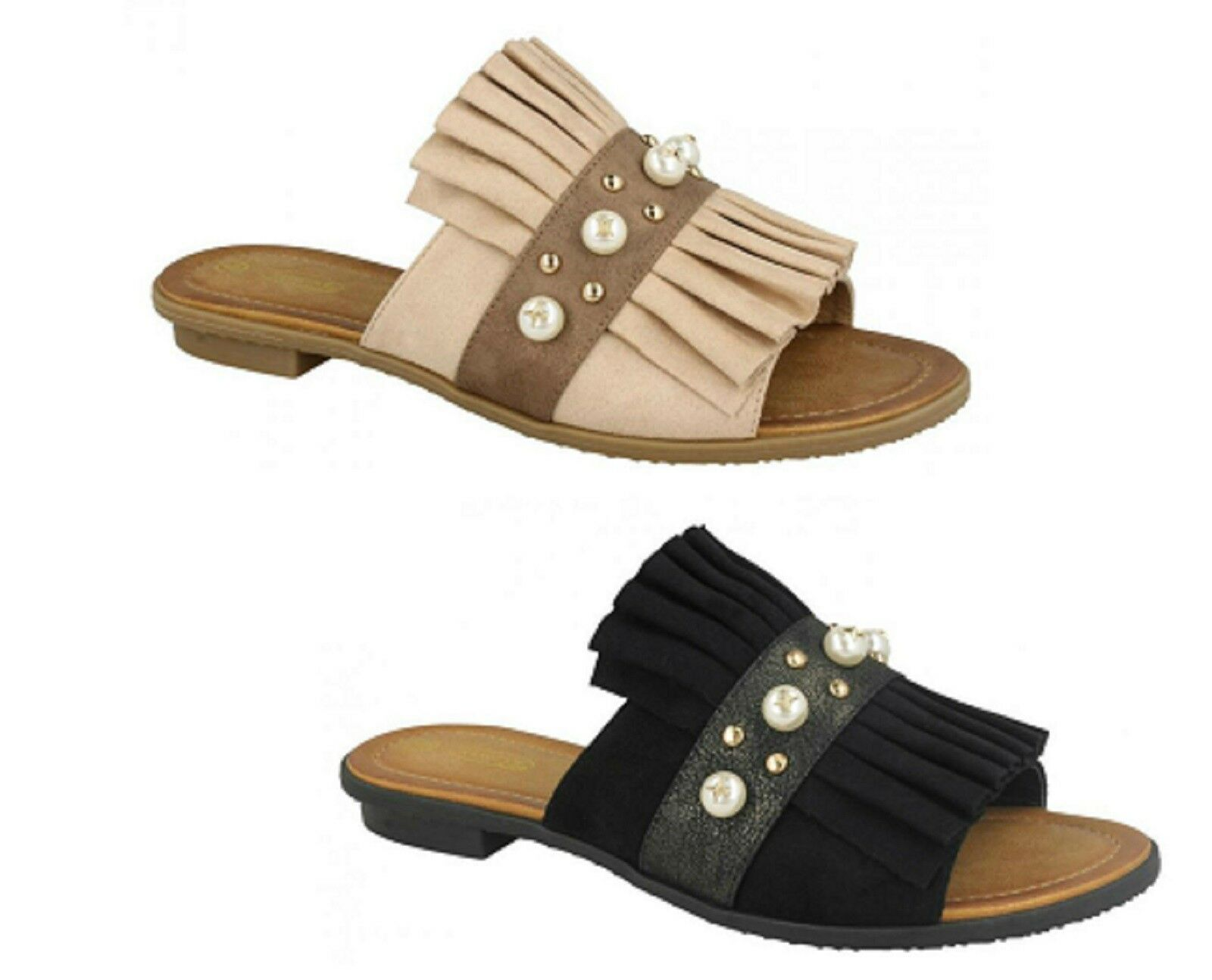 Ladies Spot On Flat Mule Frilly  Slip On Sandals  F0R0133