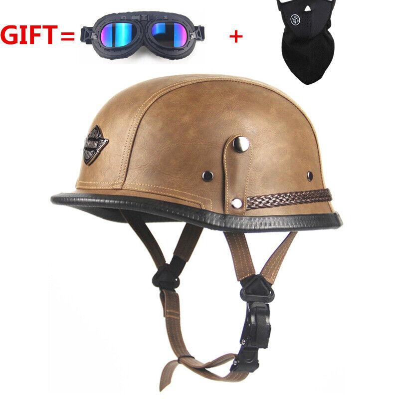 Adult  vintage Open Face Half Leather Helmet Harley Moto  Motorcycle Helmets