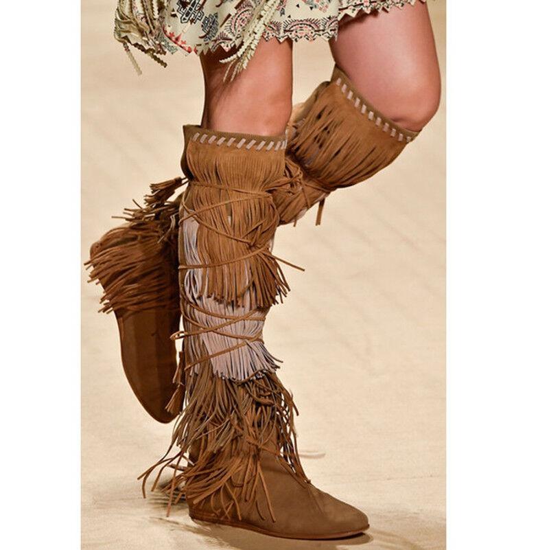Women Suede Tassels Fringe Knee High Vintage Boots Suede Wedge High Heel shoes