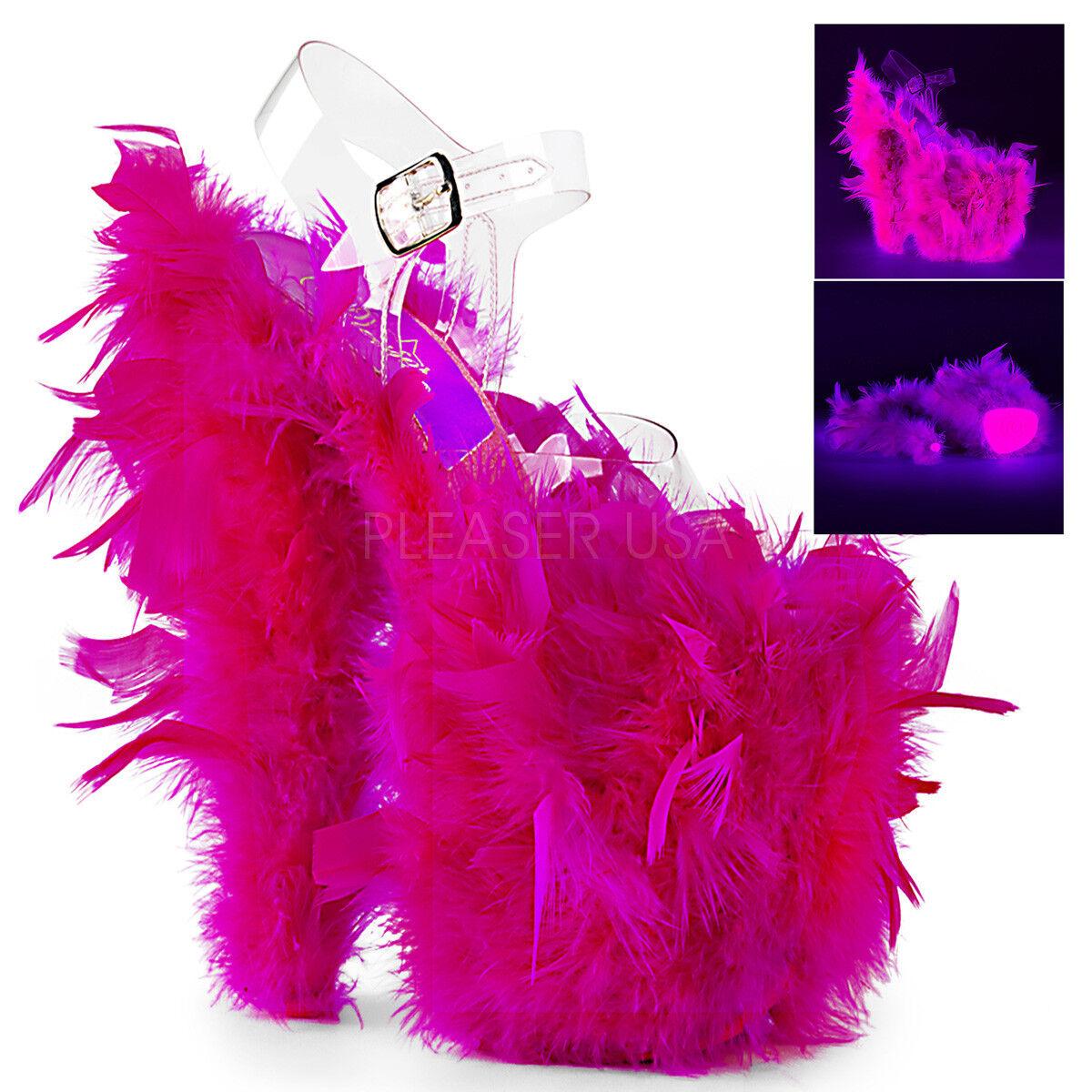 sport dello shopping online Pleaser FLAMINGO-808F Donna Donna Donna  Clear Neon Hot rosa Marabou Feather Strap Sandals  ordina adesso