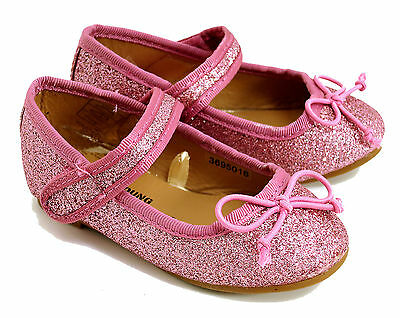 BABY GIRLS PINK GLITTER BALLET PARTY PUMPS PRAM SHOES UK SIZE 4 /  12-18 MONTHS