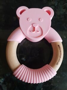 Wooden-Baby-Teether-Teething-Ring-Beech-Wood-amp-Silicone-New-UK-Seller-Pink-Bear