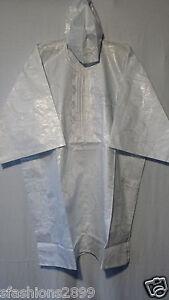 Men Clothing Brocade Print Dashiki TopW/Cap African Ethnic Shirt Plus Size White