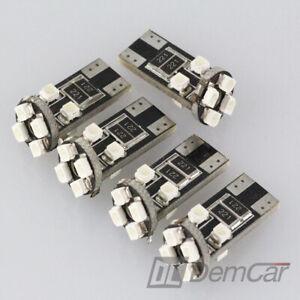 10-X-LED-Can-Bus-8-SMD-w5-T10-Base-de-Verre-Eclairage-Interieur-Couleur-Bleu