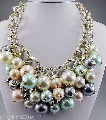 New Design pearl Crystal Flower jewelry Bib Statement Chunky Necklace collar 546
