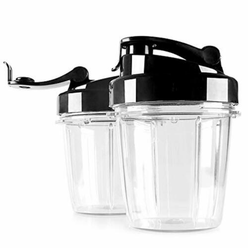 Eculina 2er Set 400 ml Becher mit Trinkdeckel geeignet für Smoothie Maker aus