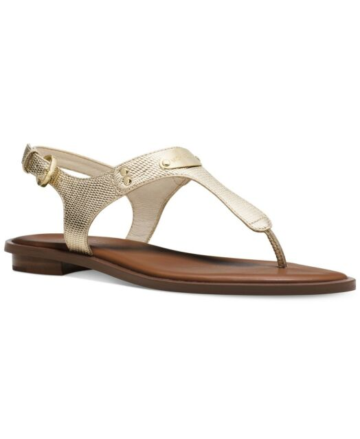 584cc605fb5 Michael Kors MK Plate Pale Gold T Strap Thongs Sandals Shoes Flat Multi  Size NIB