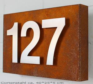 design edelstahl zahlen ziffern hausnummern auf cortenstahl stahl rost edelrost ebay. Black Bedroom Furniture Sets. Home Design Ideas