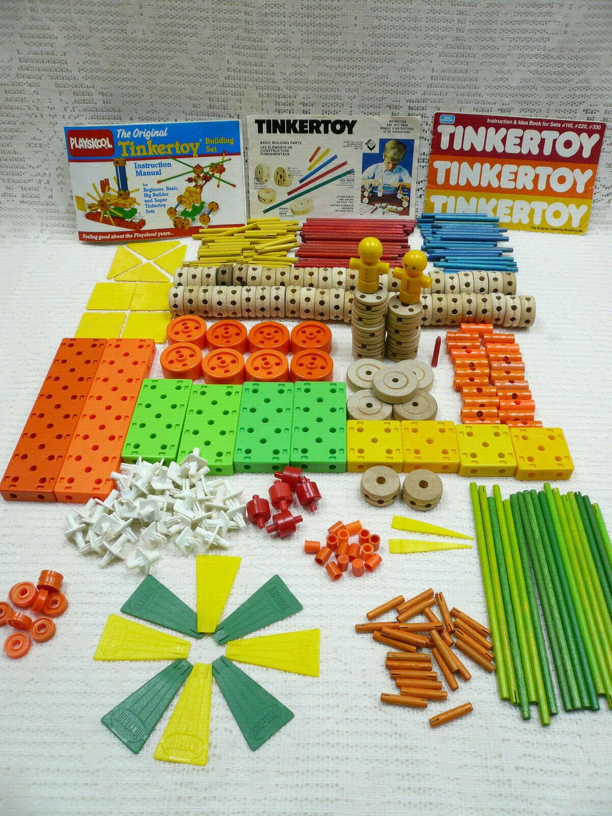 Vtg Lot Tinker Toys 351 Pieces Wood Plastic Tinkertoy Retro Building Set Manuals
