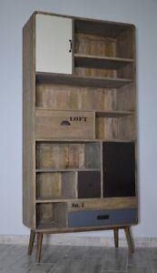 Etagere-Bois-Livres-Style-Industriel-Loft-Retro-Vintage-Marron-Chambre-Ado