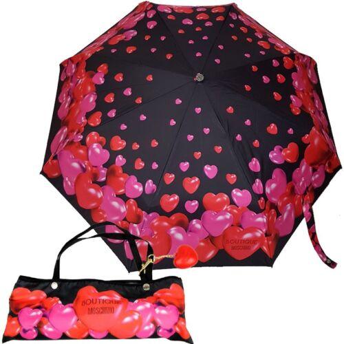 Moschino Boutique ombrello con bustina e pendente nero cuori 7275 Umbrella