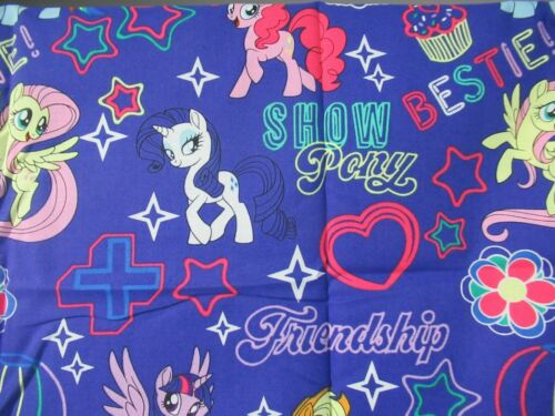 """Hasbro /"""" My Little Pony/""""  FRIENDSHIP LAUGHTER LOVE  Cotton Fabric 18/""""  By 44/"""" W"""