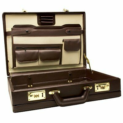RoadPro Premium Brown Leather-Like Expandable Briefcase, CAP-003PM/BN, New