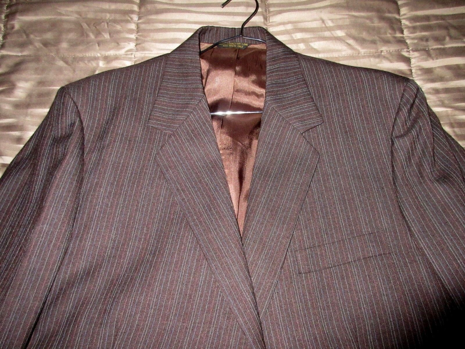John Weitz Palm Beach Brown 44 R Pinstriped 100% Wool 2 Pc Business Suit