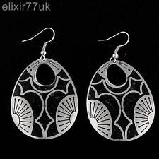 NUOVO Nero e Argento Elegante in stile retrò vintage orecchini forma ovale orecchino Goth Emo UK