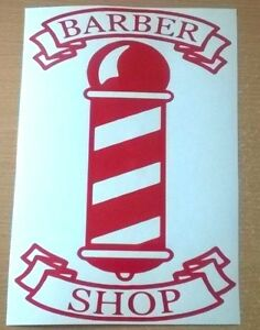"large 20"" red barbers pole barber shop front window sign vinyl sticker wall art"