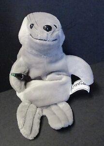 "Coca Cola Plush Bean Bag Seal Holding Coca Cola Bottle 1998 8"""