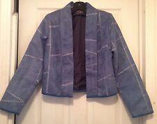 Vtg Originals by Mrs.D Moleskin/Suede Feel Open Front Jacket Blue Faux Patchwork